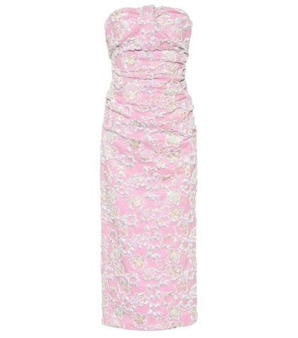 Strapless cloqué dress