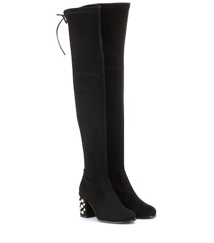 Over-the-knee suede boots with pearl embellishment