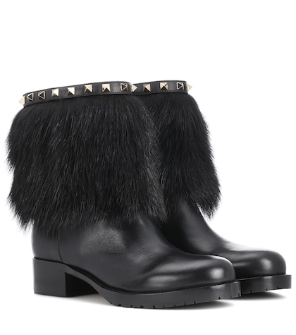 Valentino Garavani Rockstud Winter leather boots