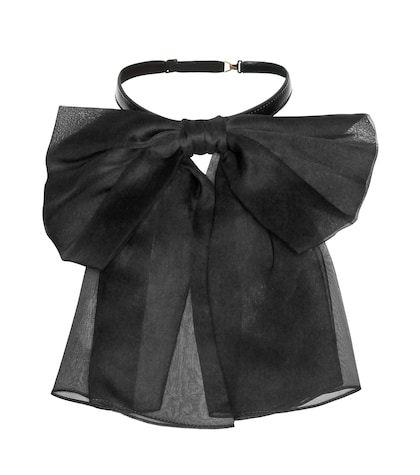 Silk And Leather Neck Bow