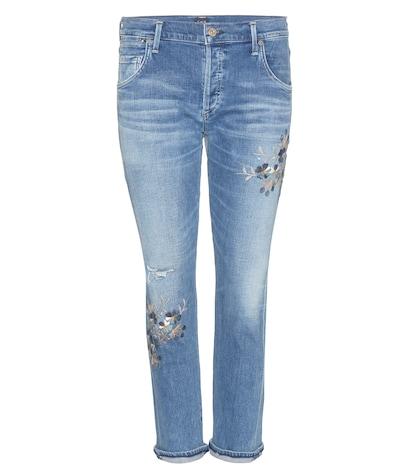 Emerson Slim Boyfriend embroidered jeans