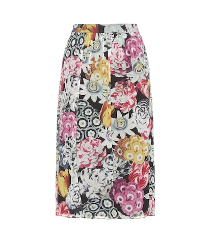 Cary Floral-printed Silk Skirt
