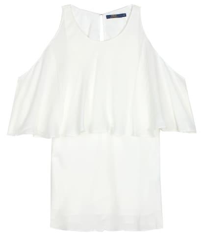 polo ralph lauren female silk top with ruffles