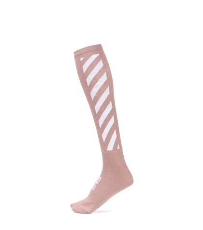Striped cotton-blend knee socks