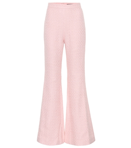Cotton-blend high-waisted trousers