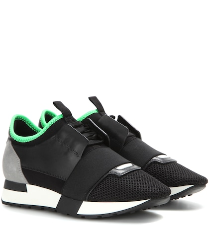 Photo of Race Runner Leather And Fabric Sneakers Balenciaga online