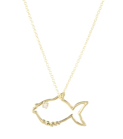 aliita female 220183 fish 9kt gold necklace with diamond