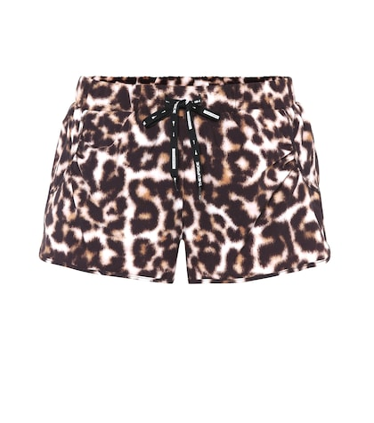 Leopard-printed running shorts