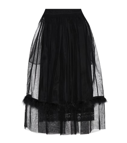 Feather-trimmed mesh skirt