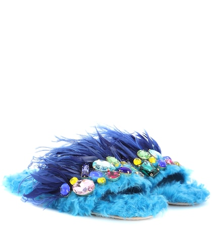 Faux fur flat with crystal embellishment