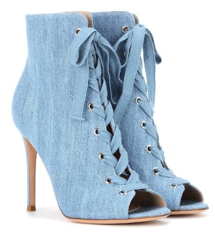 Marie Denim Peep-toe Ankle Boots