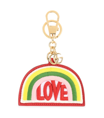 Rainbow embroidered leather keychain