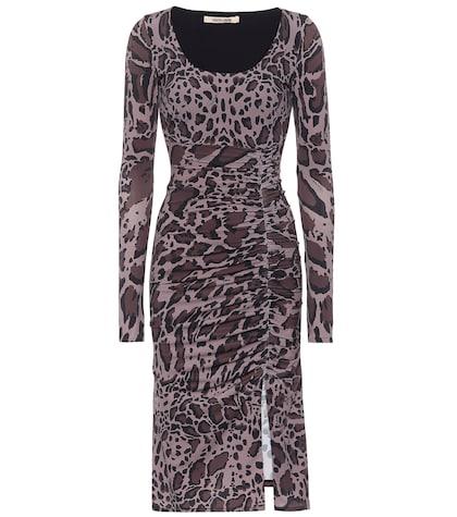 Leopard-printed jersey dress
