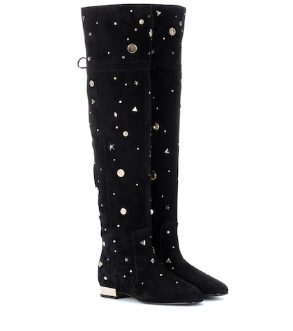 Embellished suede over-the-knee boots