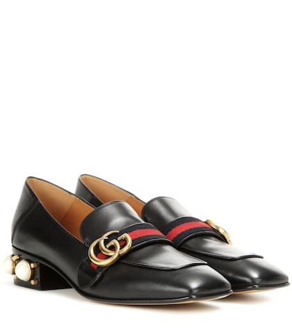 Leather mid-heel loafers