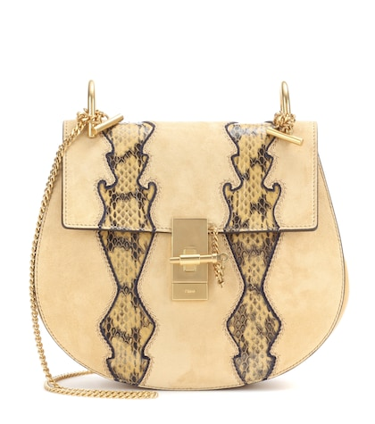chloe female drew suede and leather shoulder bag