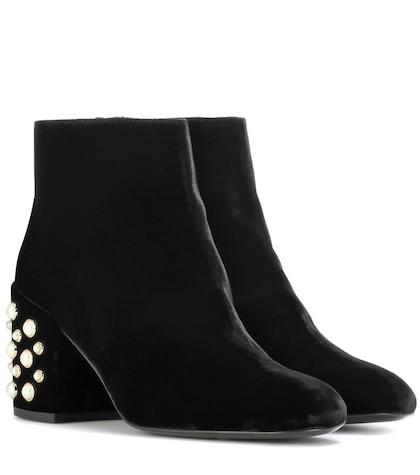 Pearl Bacari Mona embellished velvet ankle boots