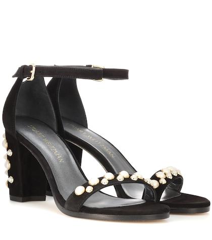 stuart weitzman female bing pearls embellished suede sandals
