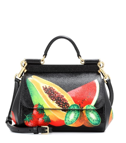 dolce gabbana female sicily mini printed leather shoulder bag
