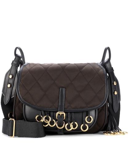 Leather-trimmed quilted shoulder bag