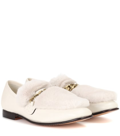 Loafur fur-trimmed leather loafers