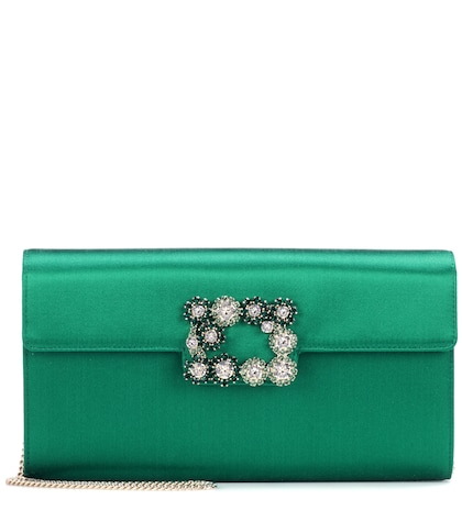 Evening Evelope Flowers satin clutch