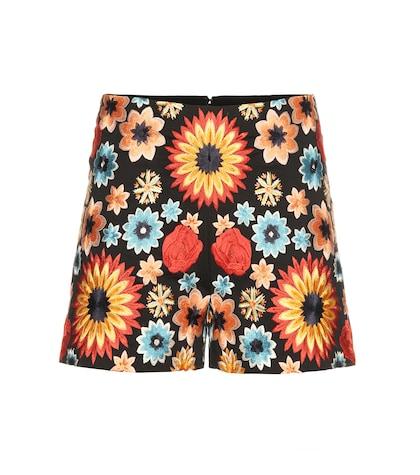 alice olivia female  sherri embroidered cotton shorts