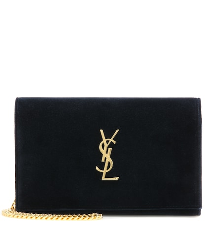 Monogram Chain Wallet Velvet Shoulder Bag