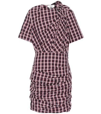 Oria draped plaid cotton dress