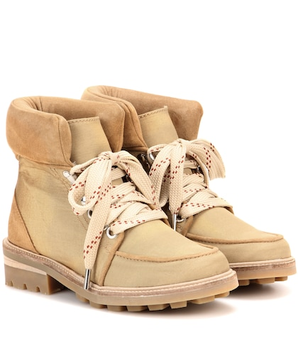 Laura Suede-trimmed Ankle Boots
