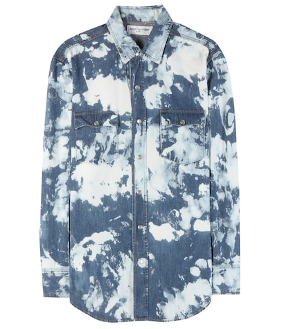 Printed cotton and linen shirt