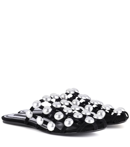 alexander wang female embellished suede slippers