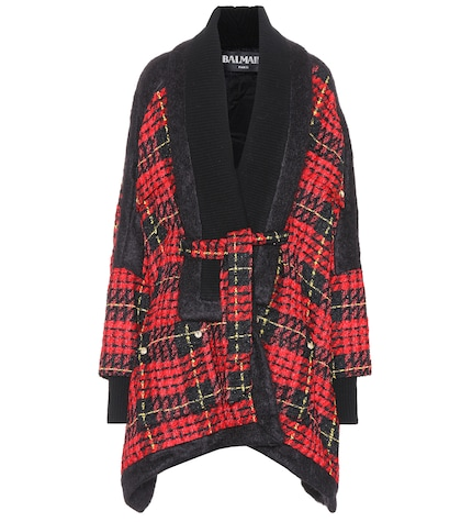 Wool-blend plaid coat