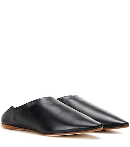 Amina leather babouche slippers