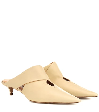 Swan leather mules