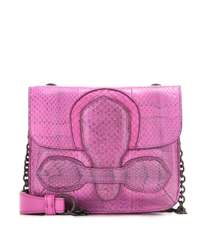 bottega veneta female snakeskin shoulder bag