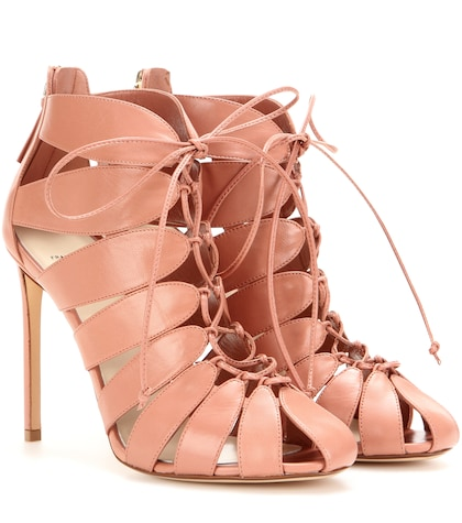 Cut-out Leather Ankle Boots