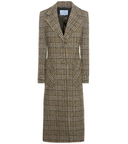 Check virgin wool coat