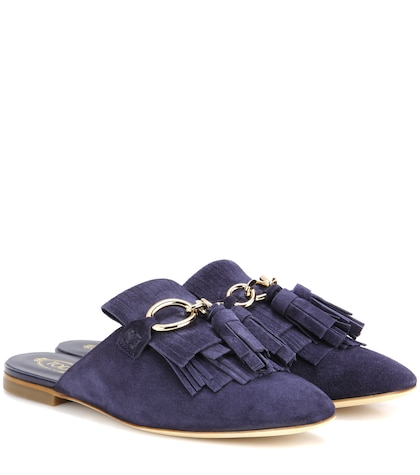 tods female embellished suede mules