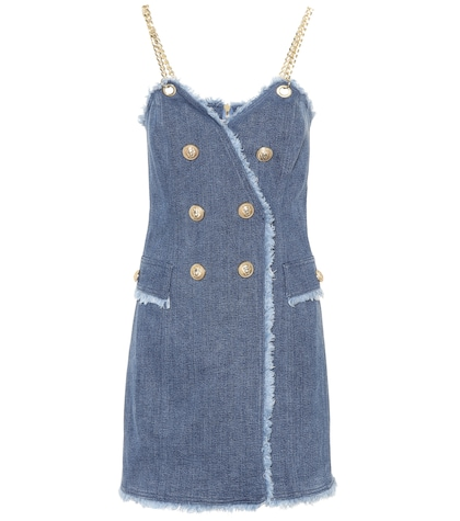 Embellished denim minidress