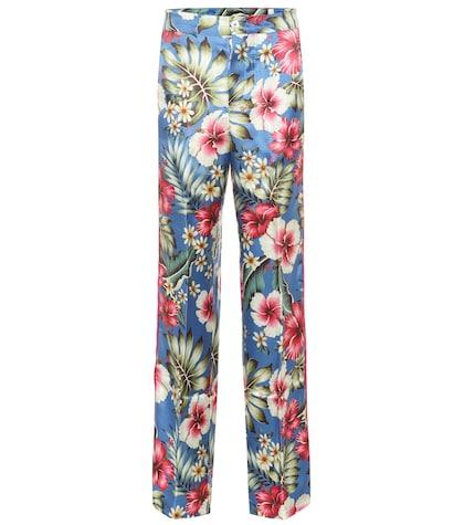 Pantalon de pyjama Carite en soie mélangée imprimée