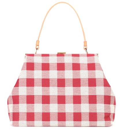 Checked canvas handbag