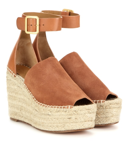 chloe female suede and leather wedge espadrilles