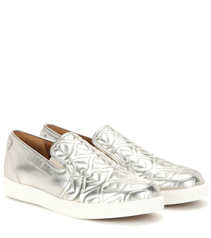 see by chloe female metallic quilted leather slipon sneakers