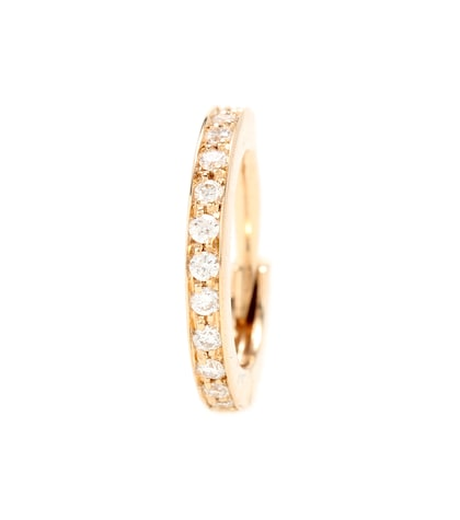 Mini Créole 18kt Rose Gold Single Earring With Diamonds