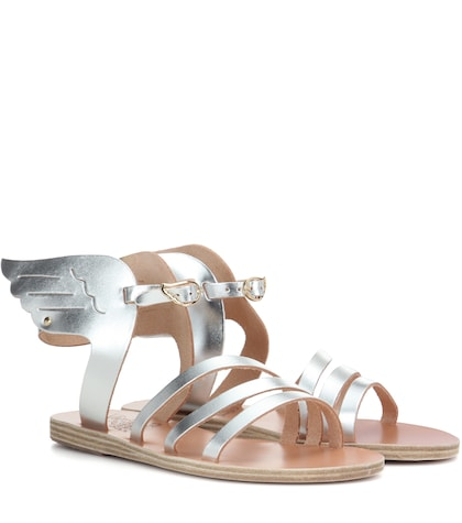 ancient greek sandals female 45900 ikaria metallic leather sandals