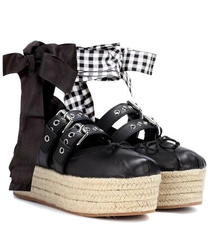 Leather platform espadrilles