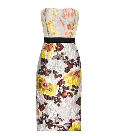 oscar de la renta female silk and wool jacquard dress