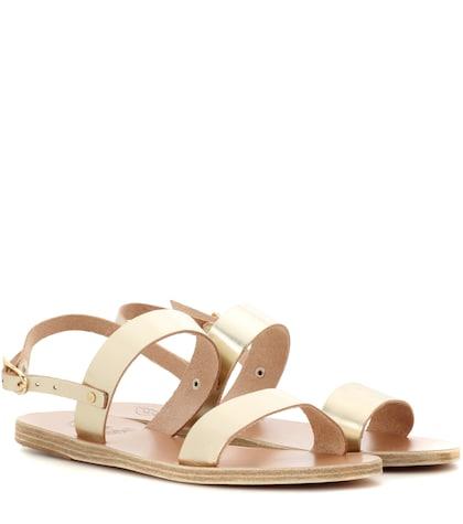 ancient greek sandals female clio metallic leather sandals