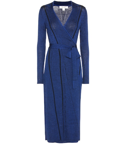 Wool-blend Ribbed Wrap Dress